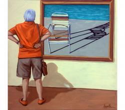 Poolside vintage chair figurative painting