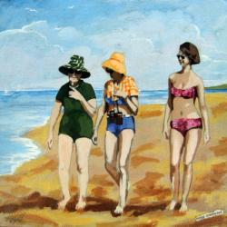 Being Connected - women on the beach mixed media painting