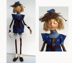 Earth & Sky - Girl figurative mixed media sculpture