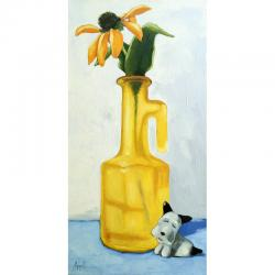 Black-Eyed Susan Floral Still Life Scottie Dog painting