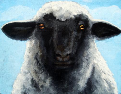 Black Face Farm Sheep realistic animal painting : Apple Arts