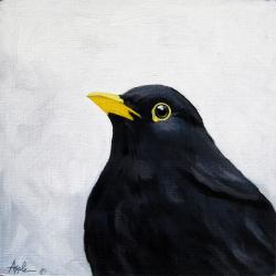 Blackbird realism animal art oil painting