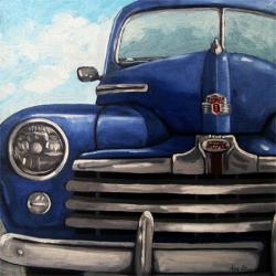 Vintage Blue Ford Car automobile oil painting