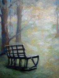 Park Bench landscape impressionistic oil painting