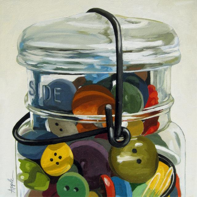 Old Button Jar - realistic still life