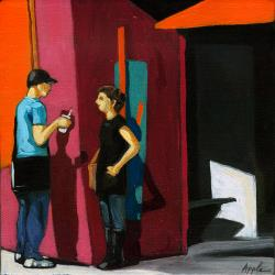 Conversation figurative city oil painting