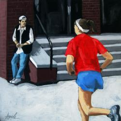 Red, White and Blue campus jog figurative painting