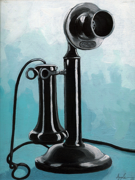 1908 Candlestick Telephone - still life oil painting