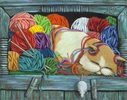 Knitting Vibes - cat portrait