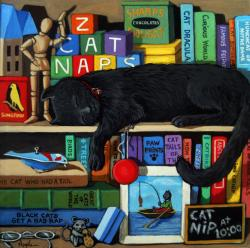 Black cat Nap Time animal art portrait still life scene