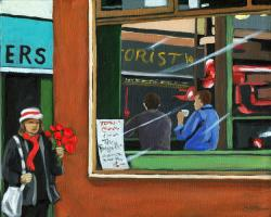 City Diner - figurative oil painting