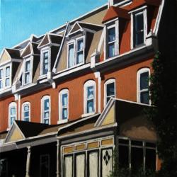 City Row - architectual city buildings oil painting