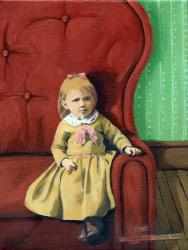 Little Girl in Big Chair - fantasy mixed media