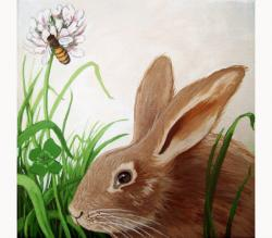 Rabbit, Clover and Bumblebee animal portrait