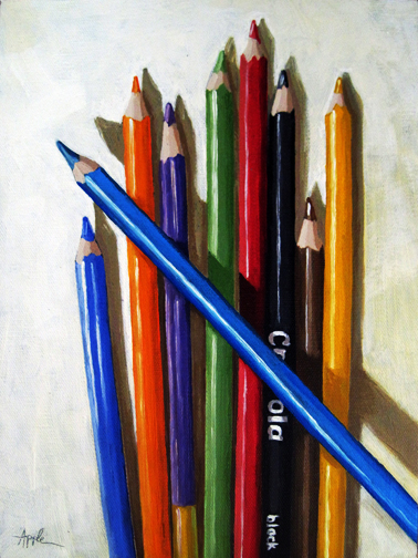 Color Me Happy colored pencils still life oil painting