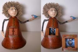 A Little Bird Told Me - fantasy mixed media sculpture