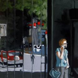 Busy Day Call - figurative city painting
