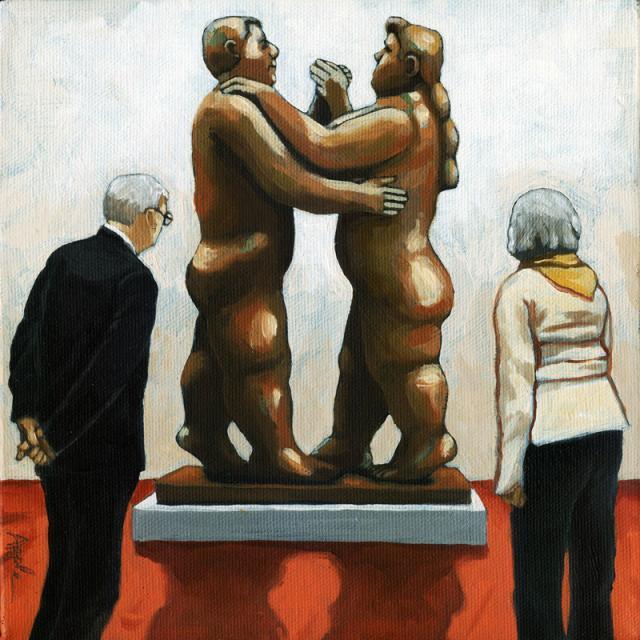 Couples - Botero bronze sculpture