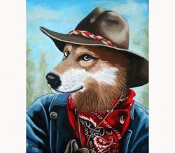 Colorado Cowboy coyote animal portrait fantasy