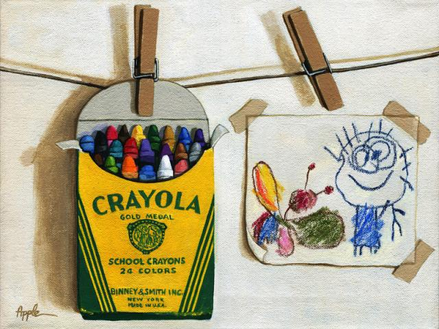 Color Me Happy original still life of childrens crayons