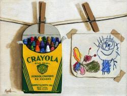 Color Me Happy original still life of childrens crayons
