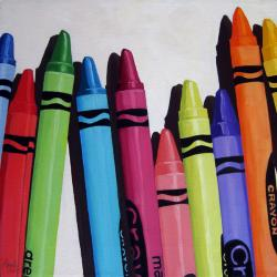 Color Me Cheerful - crayon still life oil painting