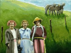 Down on the Farm - figurative landscape oil painting