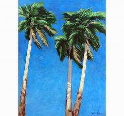 Daytime Moon in Palm Springs - Desert Palm Trees