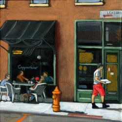 cityscene figurative realism - Delivery