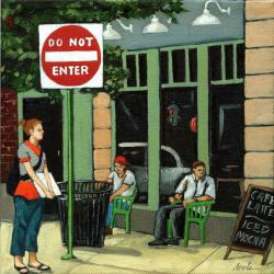 Do Not Enter - cityscape figurative art