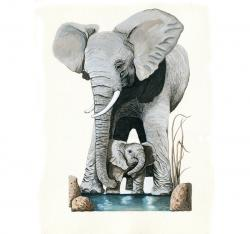 Elephants - Original illustration Save Earth Series