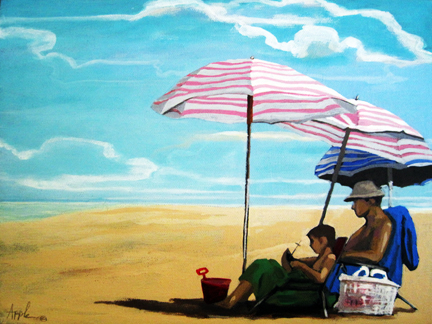 Father & Son beach figurative scene