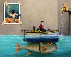 Anyfin Is Possible - Fisherman toy boat and Mermaid still life painting