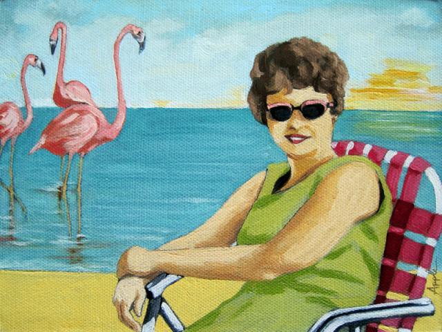 Flamingo Beach - figurative oil painting