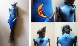 Howling Wolf Wall Sculpture Art Doll