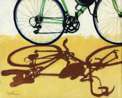 bicycle art oil painting - GO GREEN