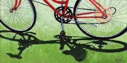 GO GREEN #2 - bicycle art oil painting