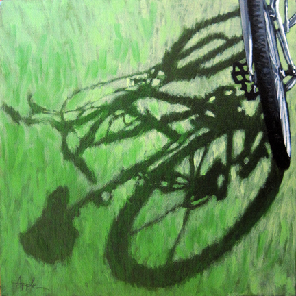 Go Green - bicycle art afternoon shadows