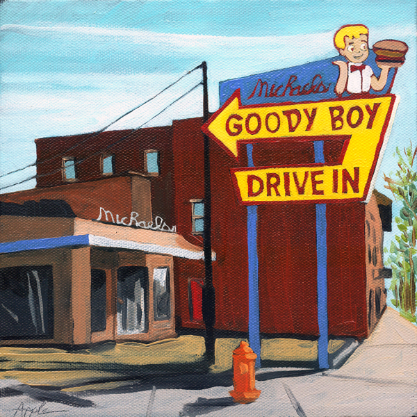 Old Goody Boy Diner cityscape oil painting