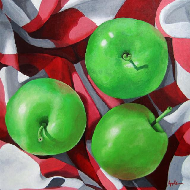 GREEN APPLES original realistic food painting by L.Apple