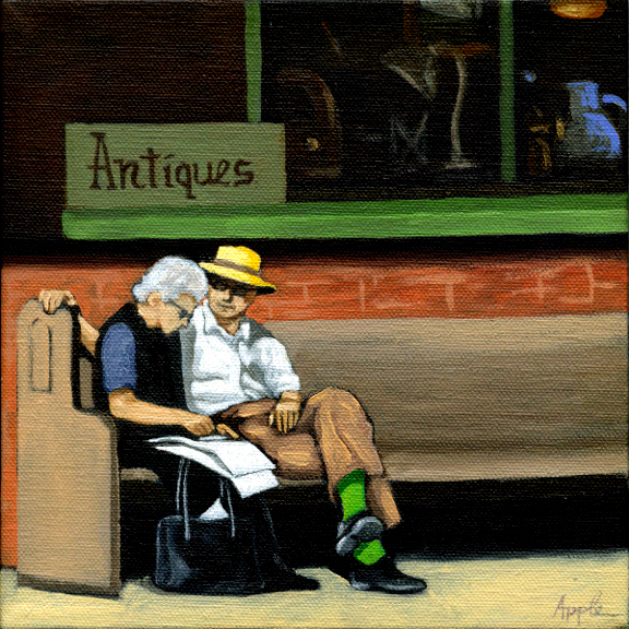 Green Socks - Couple Sharing Moments - Figurative art