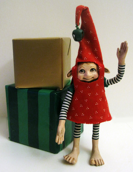 Christmas Elf - Happy ooak art doll sculpture