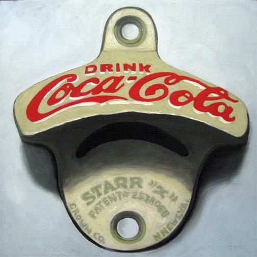 Vintage coca cola bottle opener still life oil painting original by linda apple apple arts - Antique coke bottle opener ...