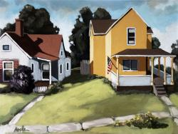 Hometown Neighbors - plein air oil painting urban scene