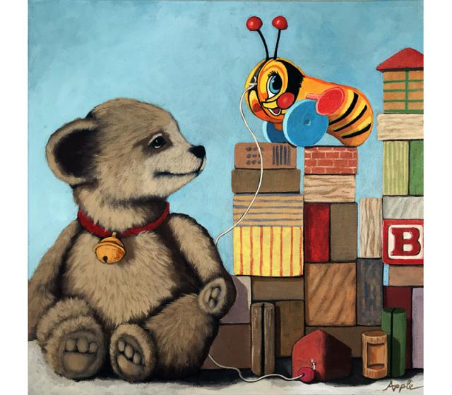 Honey Bear - whimsical teddy bear and toys realistic still life original painting