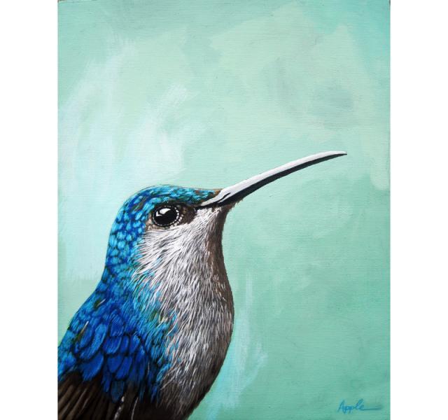 Hummingbird - realistic bird portrait animal art