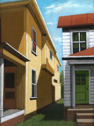 Green Door - City Houses realism oil painting