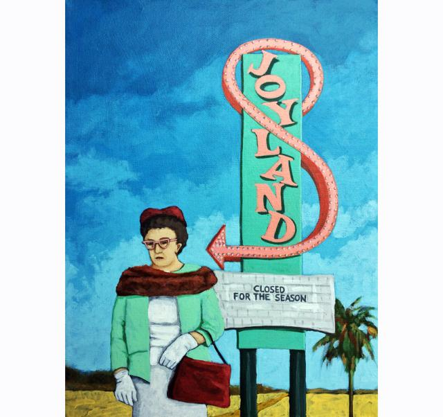 Joyland - woman on vacation desert landscape vintage sign original fine art