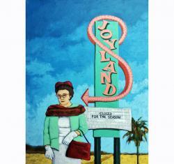 Joyland - woman on vacation desert landscape vintage sign original fine art