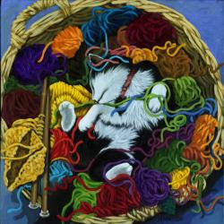 Cat portrait - KNITTER'S HELPER
